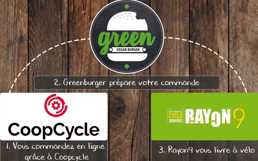Un bel exemple de circuits-courts alimentaire: Greenburger et Rayon9 via CoopCycle