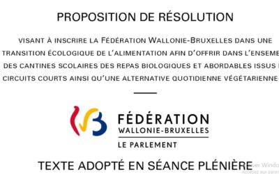 Cantines Durables: le Parlement de la Fédération Wallonie-Bruxelles s'engage