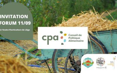 Rejoignez le Forum: Construisons nos Conseils de Politique Alimentaire Locaux (CPA) 11/09