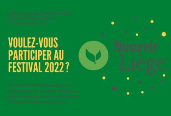 Vous souhaitez participer à l'élaboration du Festival Nourrir Liège 2022 ? Rendez-vous le 19/11 pour la première réunion préparatoire